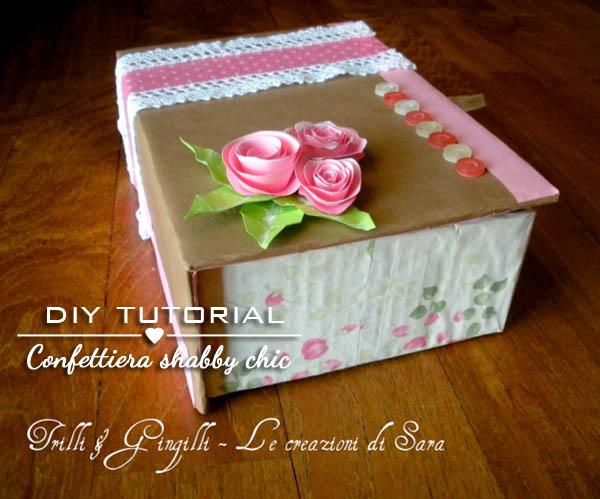 Favoloso Tutorial scatola porta confetti shabby chic fai da te VY16