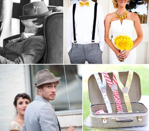 accessori per lo sposo: cappello e bretelle