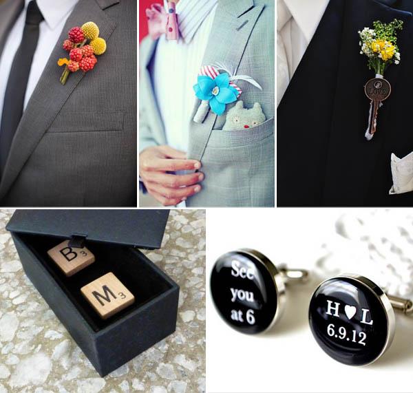 accessori per lo sposo: gemelli e boutonnières