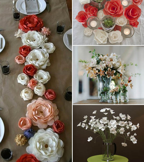 centrotavola non  floreali: fiori di carta