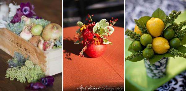 centrotavola non  floreali: frutta e verdure