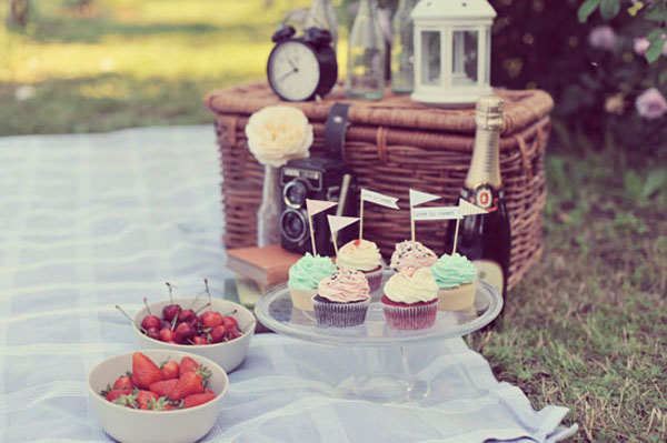 Un'engagement session a tema picnic vintage