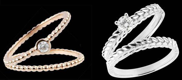 fede nuziale e anello di fidanzamento abbinati