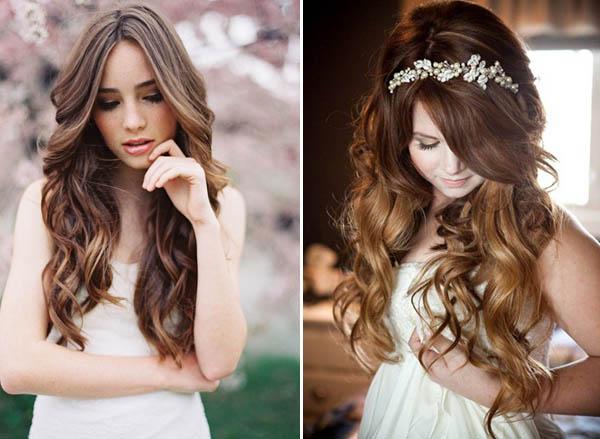 capelli lunghi e mossi per la sposa