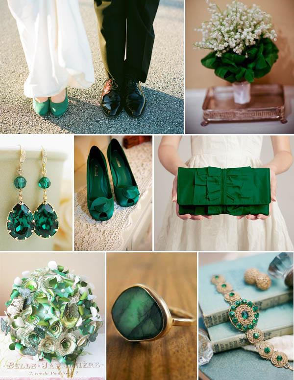 matrimonio verde smeraldo accessori sposa