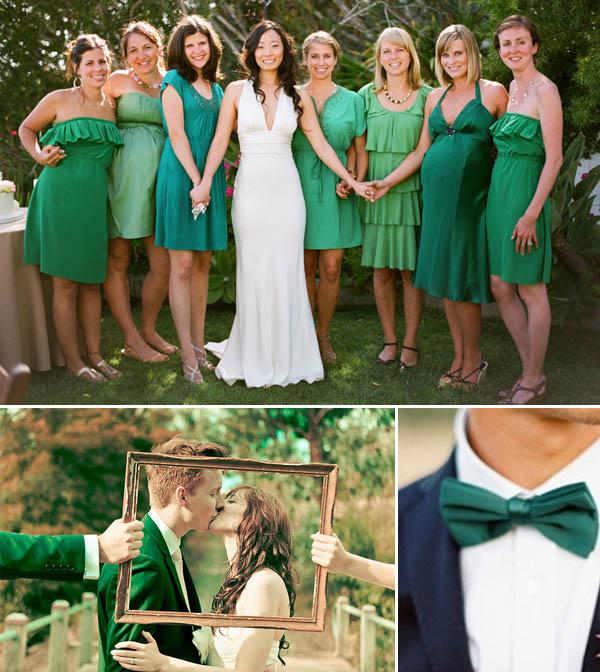 matrimonio verde smeraldo sposo damigelle