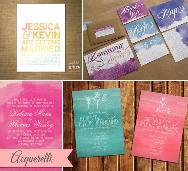 partecipazioni matrimonio acquerelli