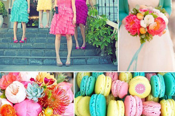 matrimonio colorato inspiration board rosa giallo azzurro