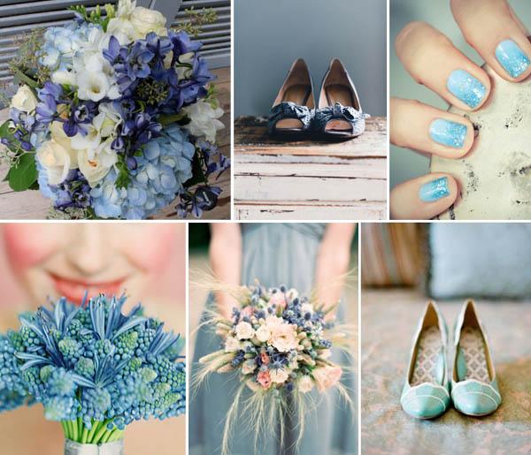 bouquet e scarpe blu sposa