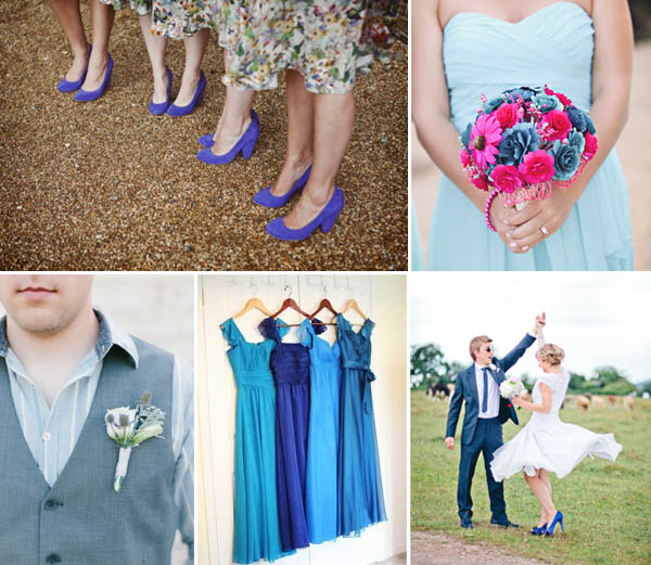 damigelle e sposo in blu