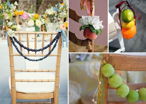 decorazioni sedie con frutta