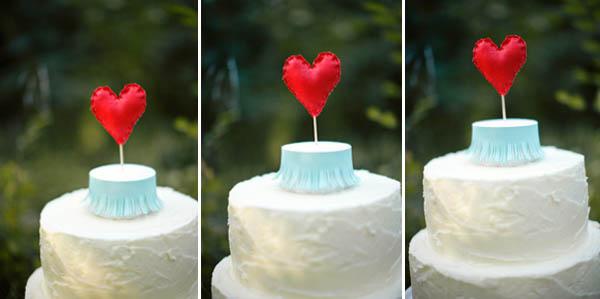 cake topper cuore di stoffa