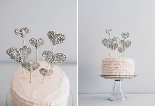 cake topper cuori glitter