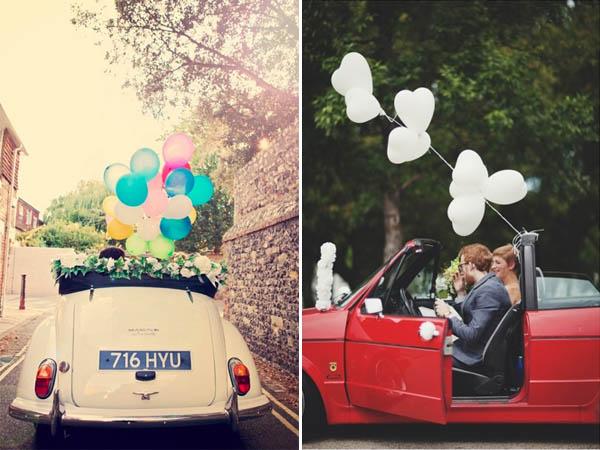 decorazioni auto sposi palloncini