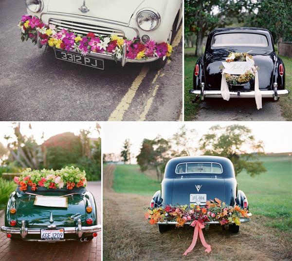 decorazioni floreali auto sposi