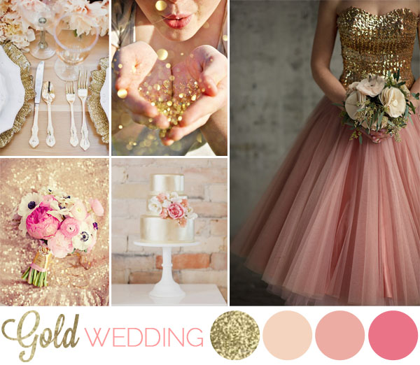 Inspiration board matrimonio oro e glitter wedding Colors that go good with pink