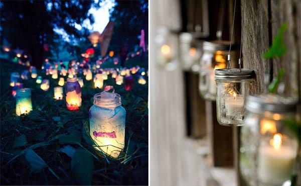 luci matrimonio candele vasetti