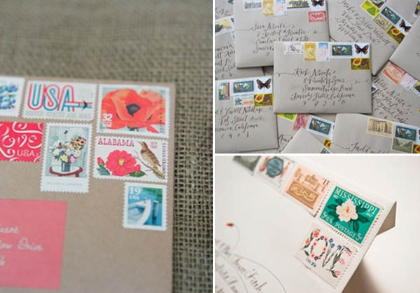 partecipazioni matrimonio - francobolli vintage