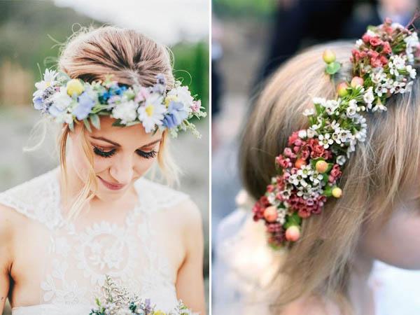 acconciature fiori sposa corona di fiori