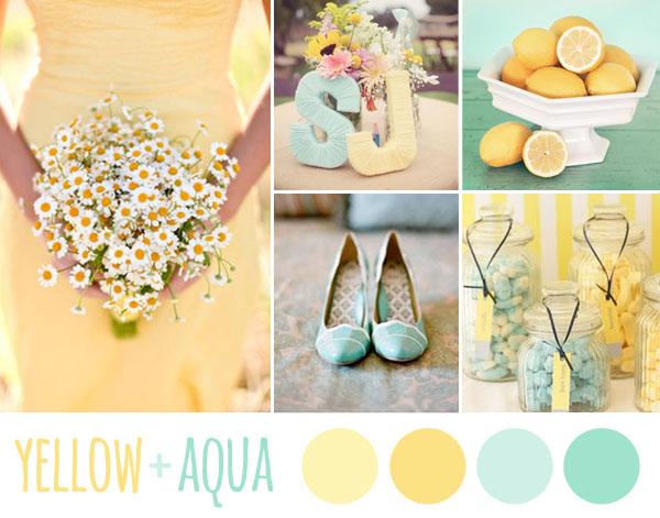 matrimonio giallo pastello e azzurro tiffany