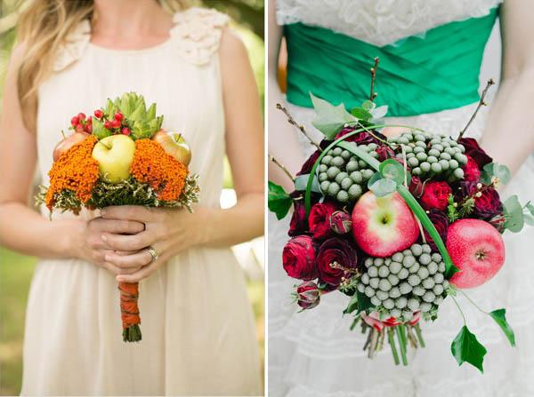 matrimonio tema mele bouquet