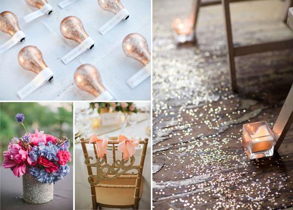 matrimonio glitter decorazioni