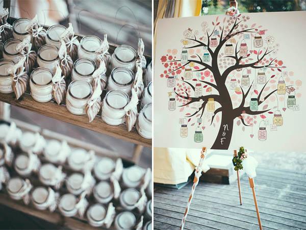 tableau mariage con albero e barattoli