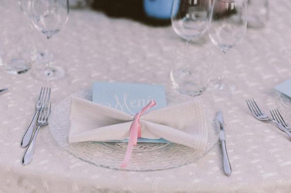 blue wedding menu
