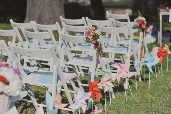pinwheel wedding ceremony decor