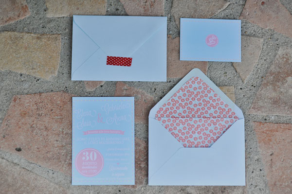 blue and pink wedding invitation
