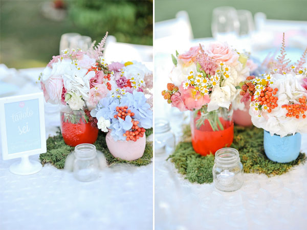 painted mason jars centerpiece with hydrangeas, roses, dahlias, carnations, astilbe, chamomile, garden roses, berries and craspedia