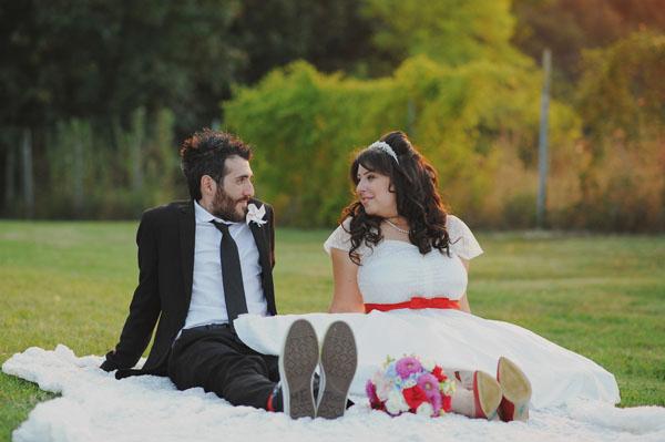 matrimonio anni '50 e '60 con palloncini