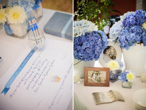 Matrimonio Bianco E Azzurro : Matrimonio azzurro con libri e ortensie