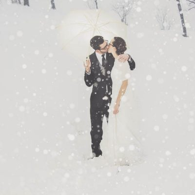 Un trash the dress sulla neve: Chiara e Matteo