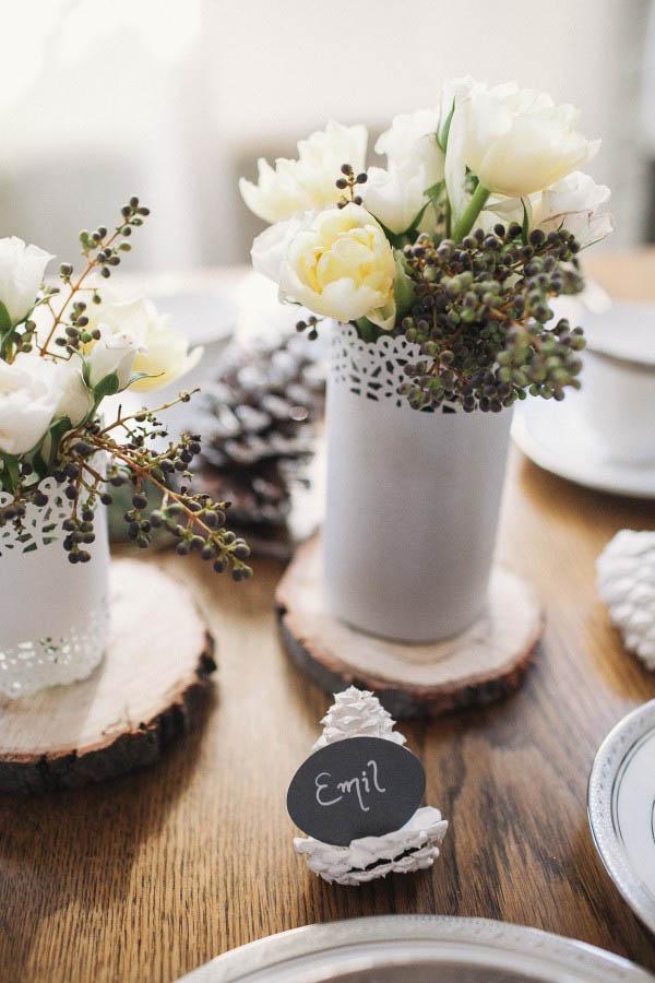 segnaposto matrimonio invernale pigne