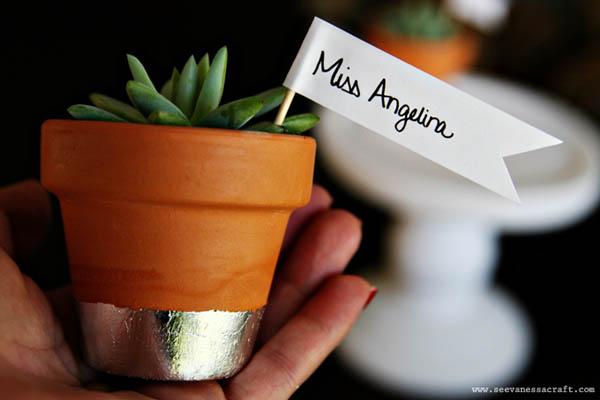 segnaposto matrimonio piante succulente