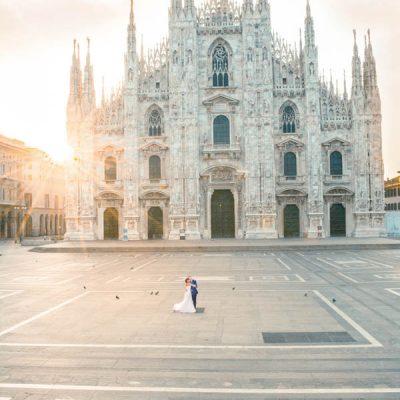 Un trash the dress all'alba a Milano: Emanuela e Silvio