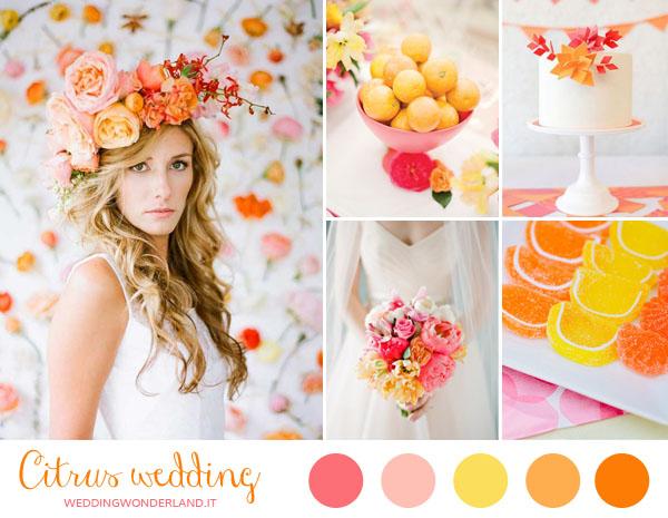 matrimonio giallo, arancione e rosa