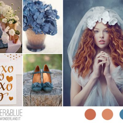 {Inspiration board} Matrimonio blu e rame