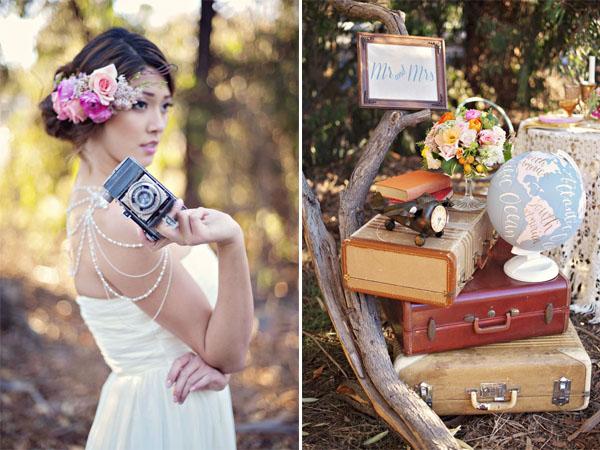 Matrimonio Tema Viaggio Idee : Inspiration shoot mongolfiere e mappamondi per un matrimonio