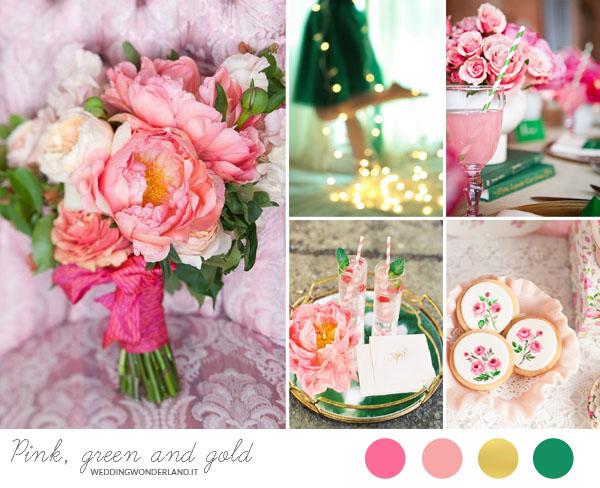 matrimonio verde smeraldo, rosa e oro