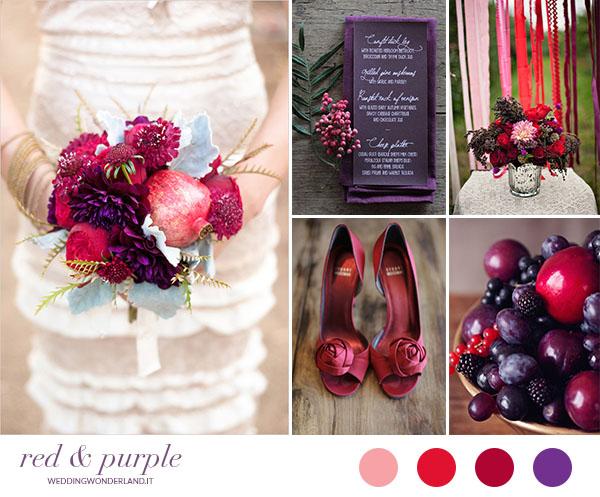 matrimonio autunnale viola e rosso