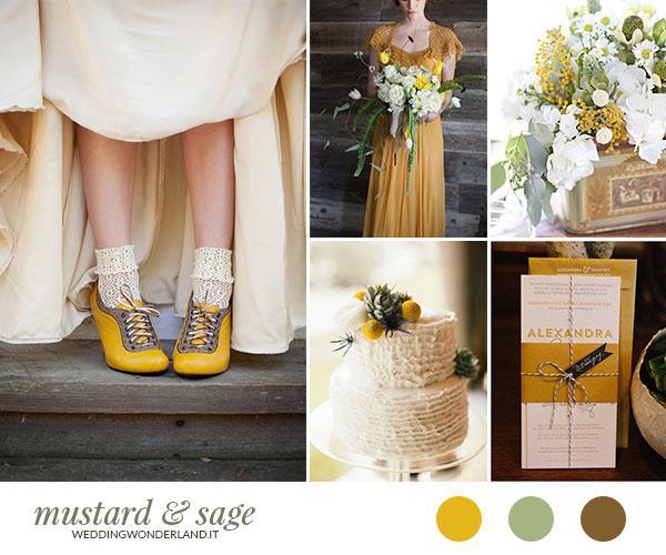 matrimonio giallo senape e verde salvia