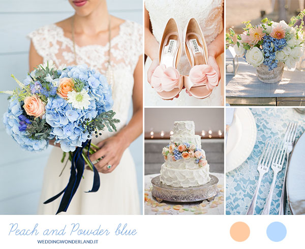 Addobbi Floreali Matrimonio Azzurro : Matrimonio pesca e azzurro polvere