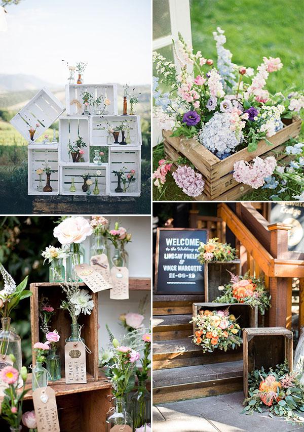 cassette di legno fiori matrimonio