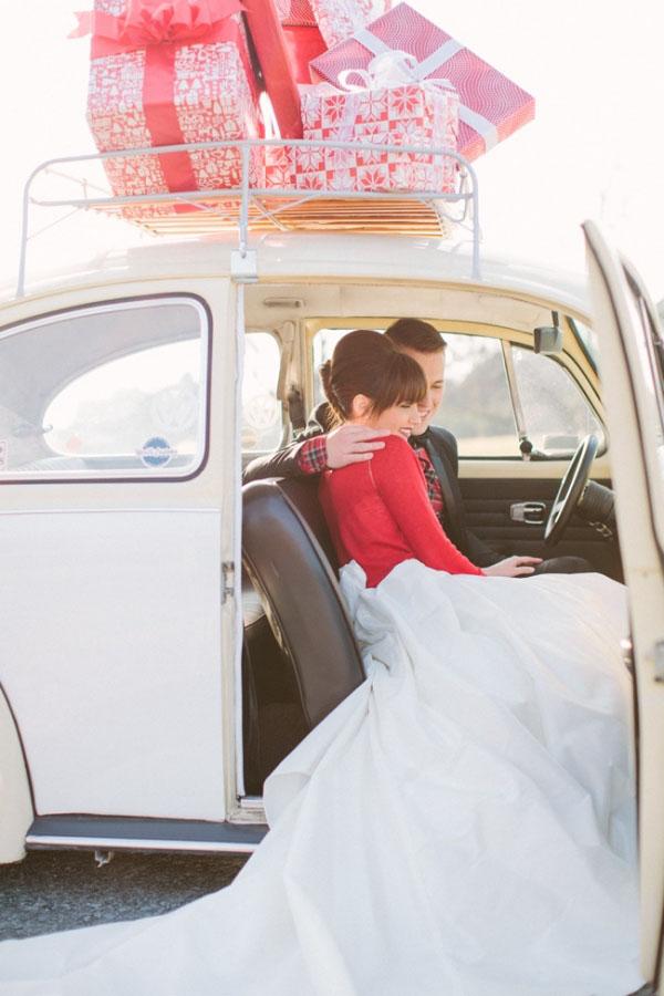 decorazione auto per matrimonio invernale
