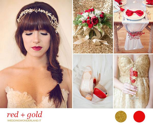 matrimonio natalizio rosso e oro