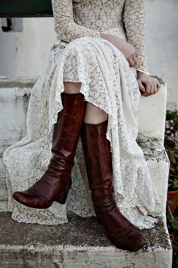 sposa invernale con stivali