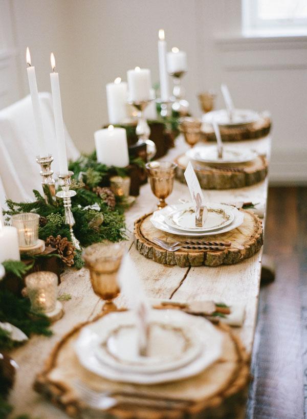 tavolo matrimonio rustico invernale