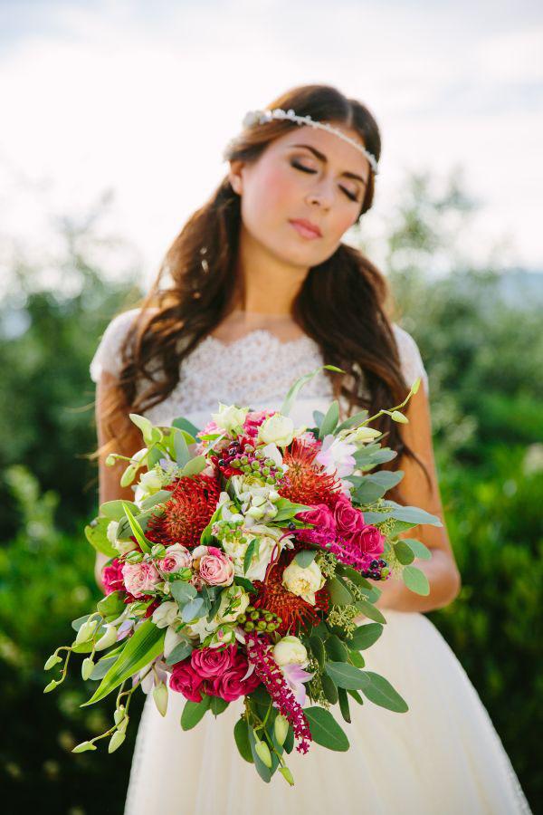 bouquet autunnale in rosa, fucsia e verde